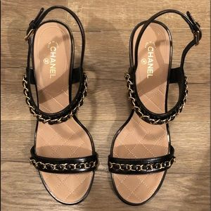 Chanel Black Matellase Chain sStrap Sandals